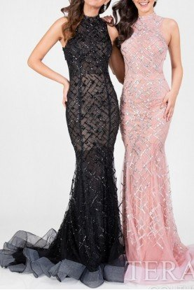 1712P2494 Black Beaded High Neck Gown Prom Dress