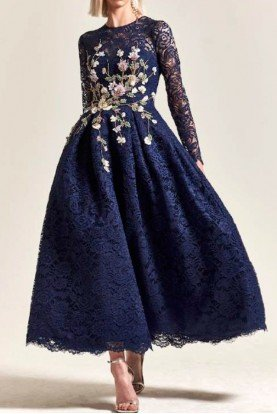 Park 108 New York M302 Navy Blue Long Sleeve Flower Lace Midi Dress