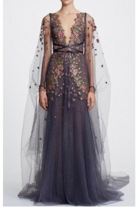 Sleeveless Illusion V Neck Tulle Gown with Cape