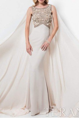 1713M3460 Champagne Beaded Gown w Cape