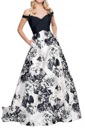 1813E6355 Off The Shoulder Print Mikado Gown
