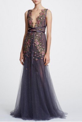 Marchesa Floral Beaded Illusion V Neck Tulle Gown M25801