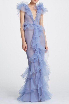 Periwinkle Pebble Organza Deep V Neck Gown M25823