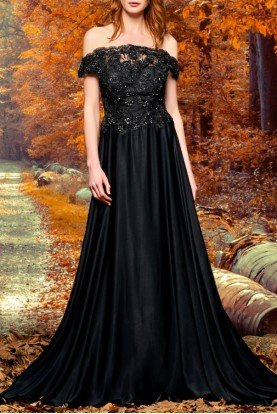 Black Embroidered Bodice with Long Skirt Dress
