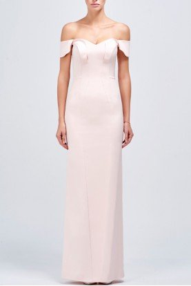 John Paul Ataker Salmon Off Shoulder Structured Long Faille Dress