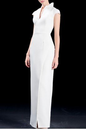 White Structured Collared Faille Long Dress