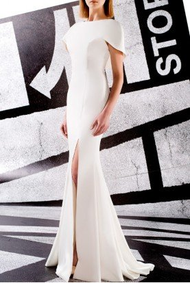 White Structured Faille  Mermaid Gown