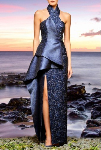 John Paul Ataker Asymmetric Halter Navy Flowered Jacquard Dress