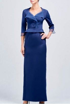 Royal Blue Buttoned Organza and Faille Long Dress