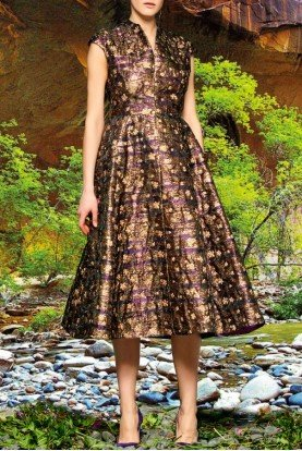 Brown Metallic Floral Jacquard A Line Dress