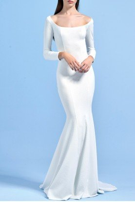 White Stretch Jacquard Mermaid Dress