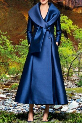 John Paul Ataker Metallic Navy Long Jacket with Ribbon Collar
