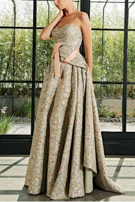 Sweetheart Neckline Drape Jacquard Dress