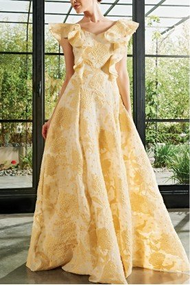 Yellow Round Neck Ruffled Sleeves Fil Coupe Gown