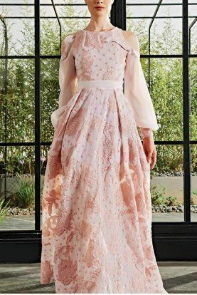 Ruffle detailed big flowered fil-coupe long dress
