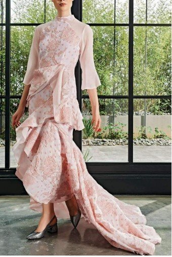 John Paul Ataker Ruffle detailed floral blush fil-coupe dress