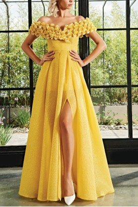 3d flower detailed honeycombed jacquard long dress