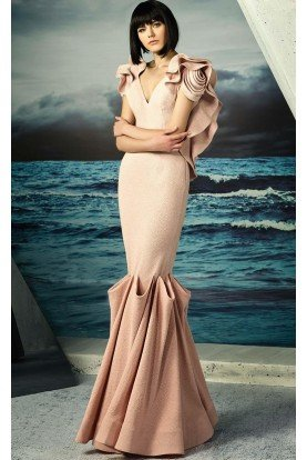 MNM Couture Pink Ruffled Cape Back Mermaid Gown G0808