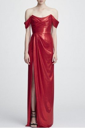Red Off Shoulder Metallic Lame Gown N27G0813