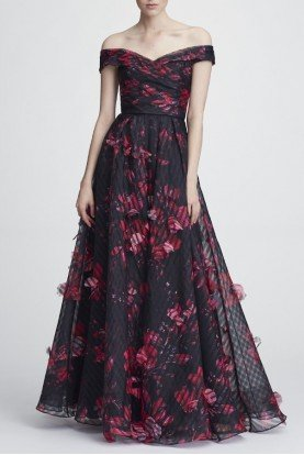 Black Floral Organza Evening Gown N28G0738