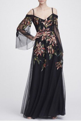 Black Long Sleeve Embroidered Tulle Gown N28G0746