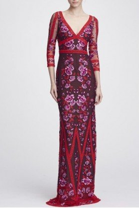 Floral Mid Length Sleeve V Neck Lace Gown N27G0740
