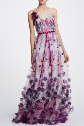 Marchesa Notte Ivory Floral Sleeveless Evening Gown N30G0830