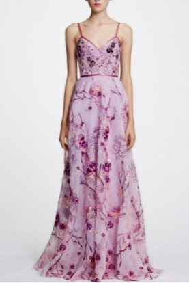 Marchesa Notte Lilac Sleeveless Floral Organza Gown N29G0845