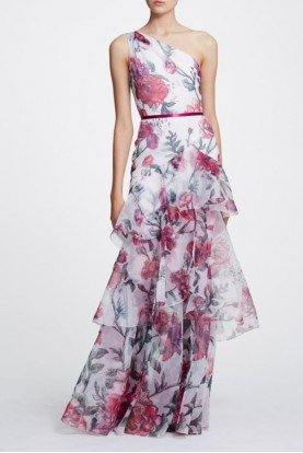Marchesa Notte Ivory One Shoulder Floral Organza Gown N30G0844