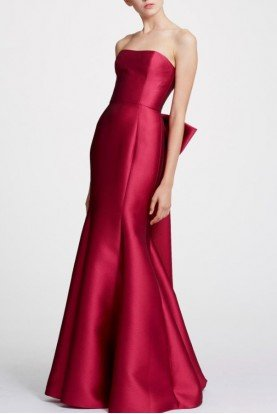 Red Strapless Mikado Evening Gown N29G0825
