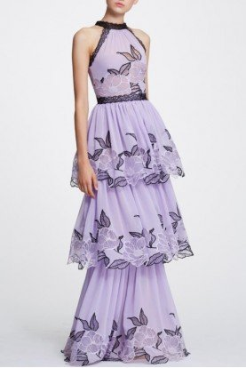 Lilac Sleeveless Tiered Evening Gown N30G0836