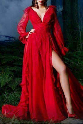 Long Sleeve Red Evening Gown 2499