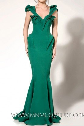 Structured Ruffle Evening Gown Mermaid Dress