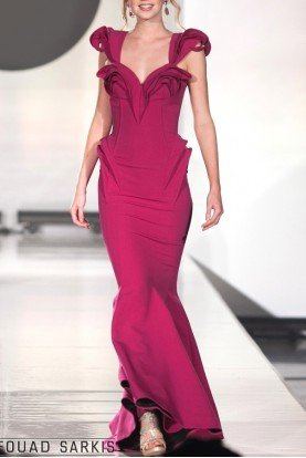 Structured Ruffle Purple Evening Gown 2263