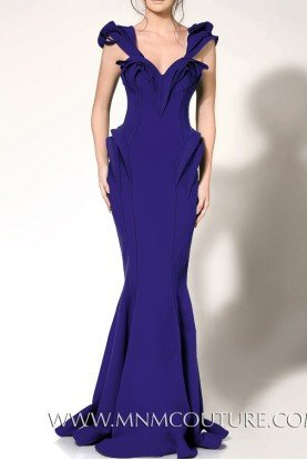 2263 Structured Ruffle Blue Evening Gown