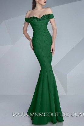 Mint Color Off Shoulder Fitted Gown Evening Dress