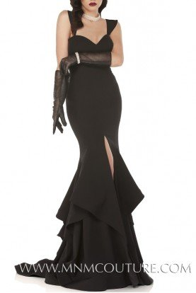 Black Sweetheart Mermaid Gown with Slit N0020