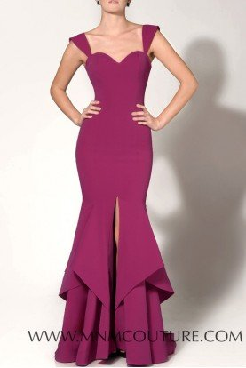 Purple Sweetheart Fitted Gown with Slit N0020