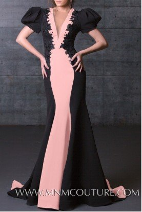 Black Blush Deep V Neck Color Block Fitted Gown