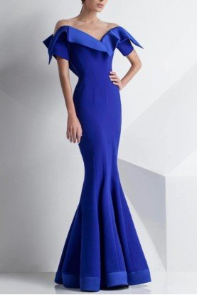 Royal Blue Off Shoulder Gown G0782