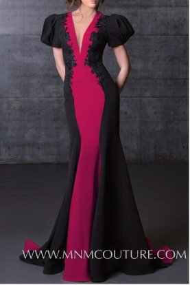 Black Fuchsia Color Block Fitted Gown N0072