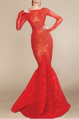 Long Sleeve Corded Bodice Red Evening Gown 2257A