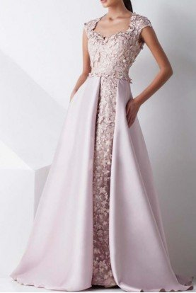 MNM Couture Pastel Pink Beaded Applique A Line Gown G0808