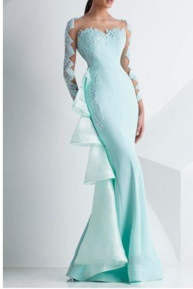 Long Sleeve Illusion Evening Gown in Mint