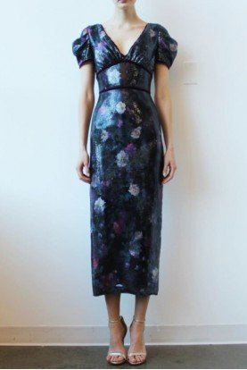 Printed Sequin Black Midi Tea Dress N31G0912
