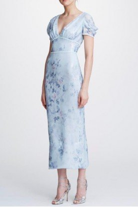 Light Blue Printed Sequin Midi Tea Dress N31G0912