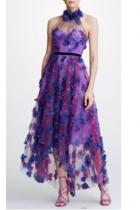 Purple Floral Halter Neck Hi Lo Tulle Midi Dress