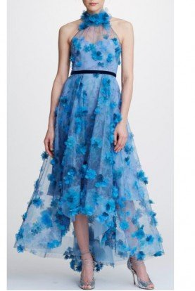 Blue Halter Neck Hi Lo Floral Tulle Midi Dress