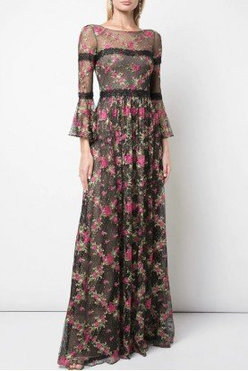 Embroidered Long Sleeve Chantilly Lace Gown