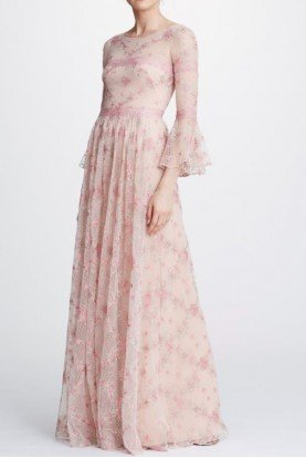 Embroidered Long Sleeve Tulle Gown in Blush